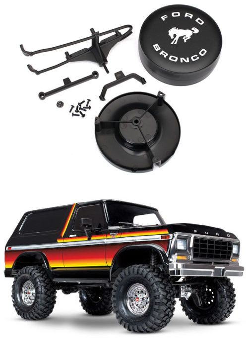 Traxxas 8074 Spare Tire Mount// Mounting Bracket Tire Cover TRX-4 Ford Bronco