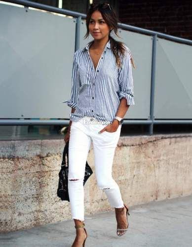 Damen-vertikale-gestreift-T-Shirt-lange-Armel-abdrehen-Halsband-Taste-Bluse-S-XL