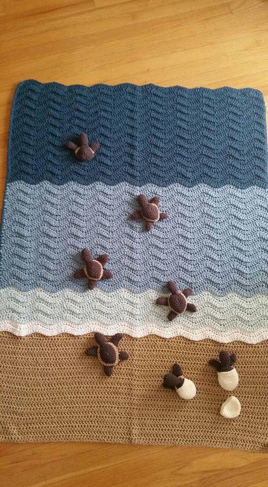 Hatching sea turtles crochet blanket