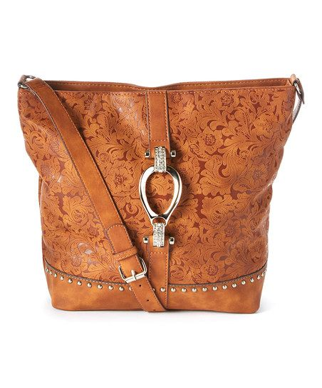 I Love Accessories Tan Floral Leather Crossbody Bag | zulily