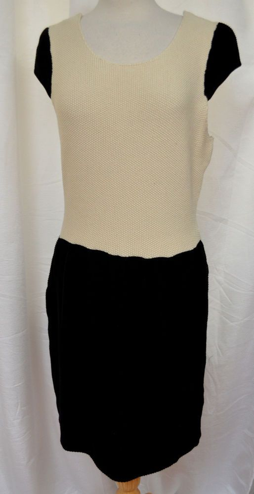 C. Luce Size L Black & Cream Color Blocked Pebble Knit Dress Cap Sleeves New #CLuce #KnitDress #WeartoWork