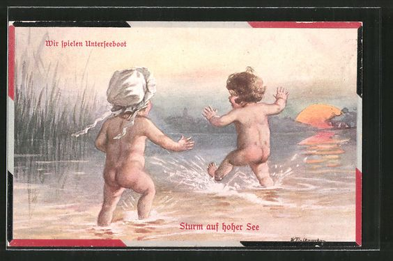 Künstler-AK Wally Fialkowska: Wir spielen Unterseeboot, Sturm auf hoher See…