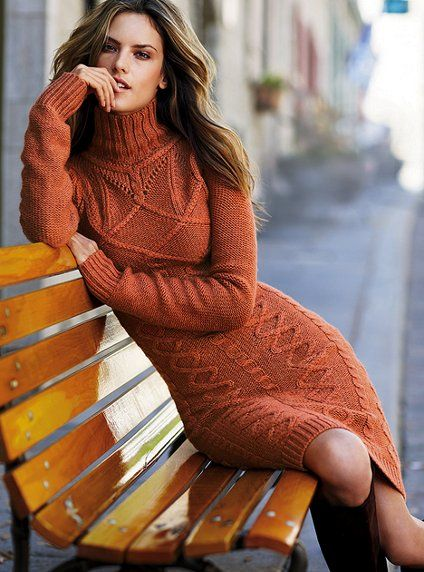 Long-sleeve Turtleneck Cable Sweaterdress-I love this look!: