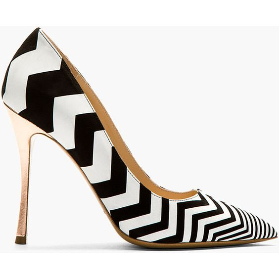 Nicholas Kirkwood Black & White Suede Chevron Pumps ($300) ❤ liked on Polyvore featuring shoes, pumps, heels, footwear, metallic pointed toe pumps, pointy-toe pumps, high heel court shoes, suede pointed toe pumps and black and white pumps