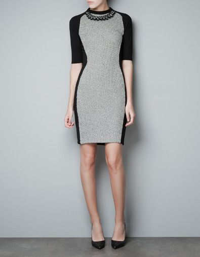 tube dress with diamante collar, ZARA