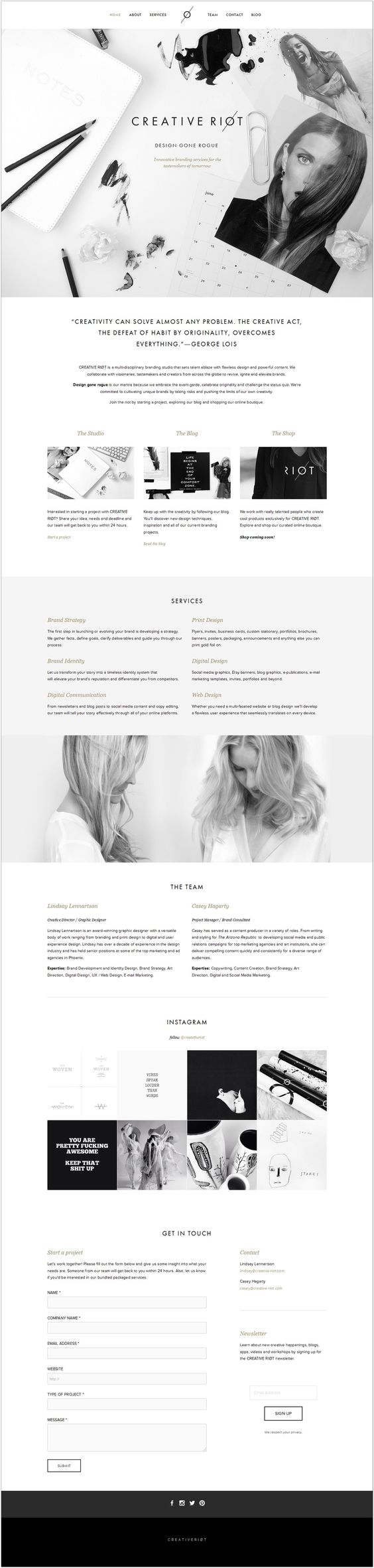 Creative Riot - this design is beautiful and minimalistic. :) #Responsive #Web #design