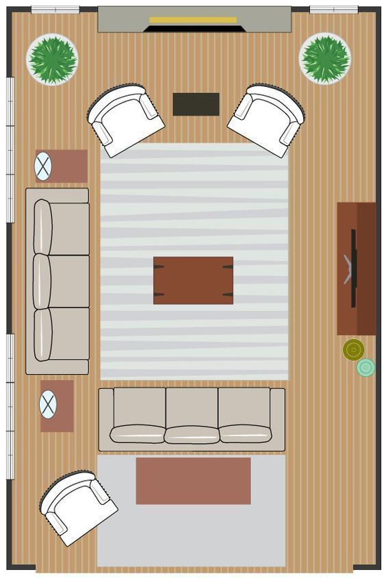 Seating Arrangement For Two Focal Points Living Room 2