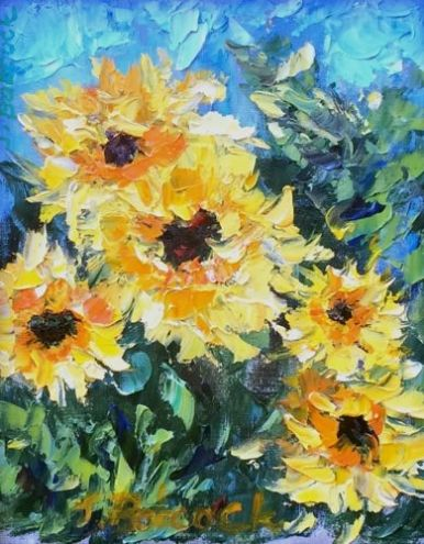 Palette Knife Flower Art Painting Sunflowers for You by Colorado Impressionist Judith Babcock -- Judith Babcock
