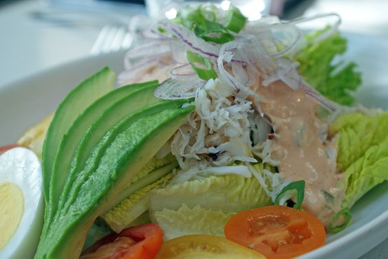 Our Crab Louis Salad made with the freshest dungeness crab, avocado, romaine hearts, citrus vinaigrette, shaved sweet onion, louis dressing for only  $17.00