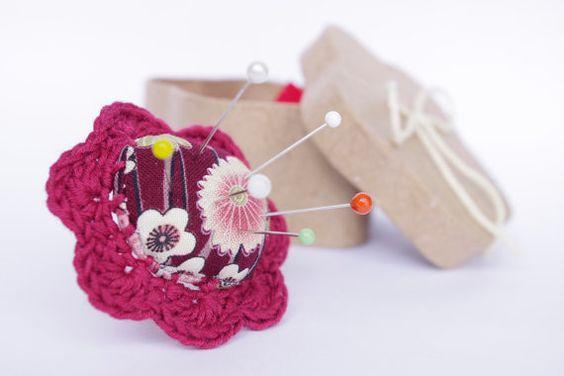 Burgundi Flower pincushion ring claret Fabric cotton