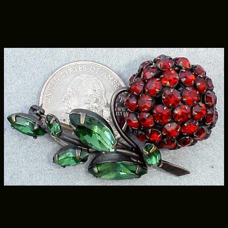 Large Figural Vintage Rhinestone Schreiner Brooch  Red Cherry Fruit Pin