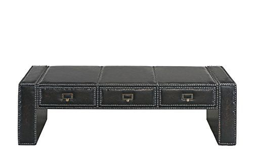 Traditional Faux Leather Upholstered Accent Coffee Table With