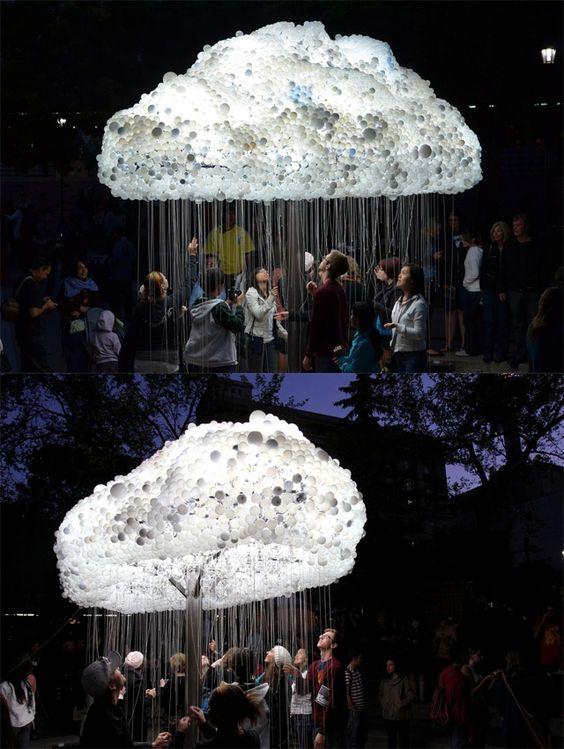 Interactive Sculpture Made from 6000 Light Bulbs!