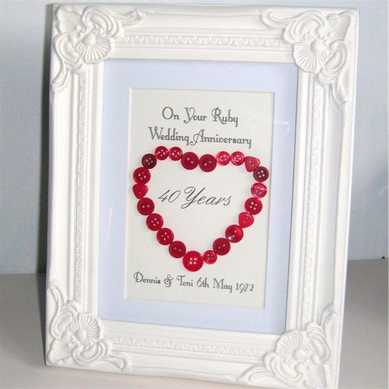 Ruby wedding anniversary gift gifts pinterest