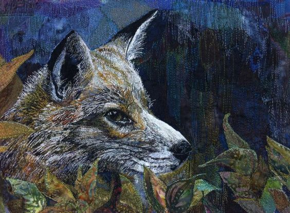 Rachel Wright -Textile Artist - Fox - machine embroidered on calico using Madeira Rayons. Incredible!: