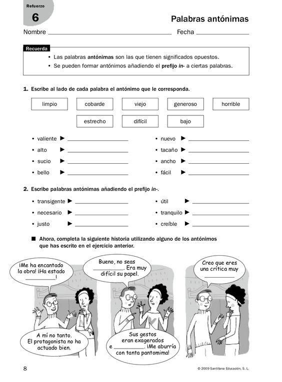 8 2009 Santillana Educación S L Nombre Fecha Refuerzo 6 Palabras Actividades Gramaticales Comprension Lectora Para Secundaria Actividades De Ortografía