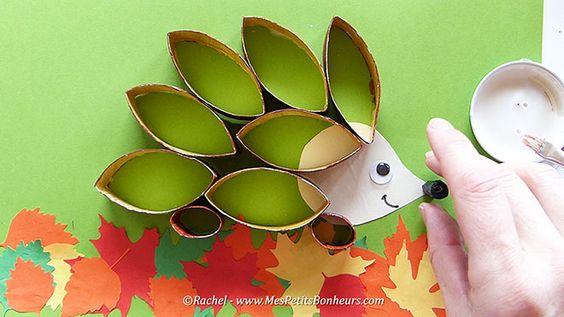 Bricolage herisson recup pour l'automne.Image fixe014