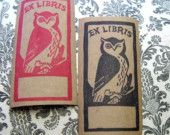 Deco Owl Bookplates- Red and Black