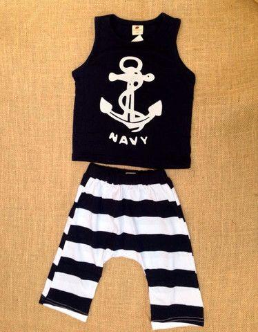 Nautical Navy Blue Outfit – Ribbon & Bows