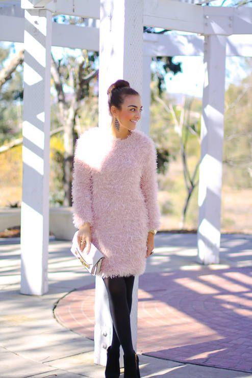 Pink Fuzzy Sweater Dress