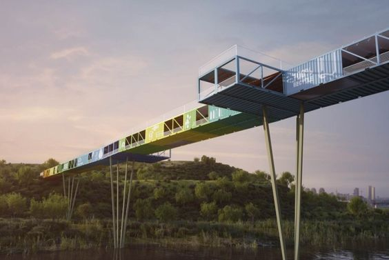 The 'ECOntainer Bridge' by Yoav Messer Architects in Israel repurposes the containers to connect...