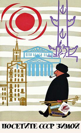 Visit the USSR in Winter. Vintage travel poster http://www.vintagevenus.com.au/products/vintage_poster_print-tv849
