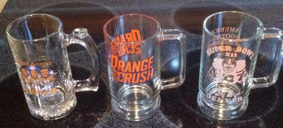 Three Denver Broncos Vintage Glass Mugs 3 Amigos Orange Crush Conf Champions #DenverBroncos