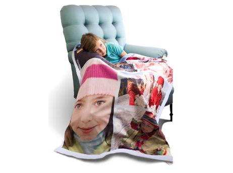 Personalize a fleece blanket. | 33 Incredible Things You Can Do With Your Family Photos