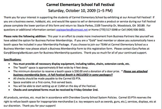 template for letter to vendors for a fall event  from the pto today file exchange