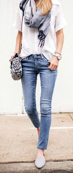 Woman wearing jeans white top and a scarf with cute shoulder bag | Skirt the ceiling @ skirt the ceiling.com