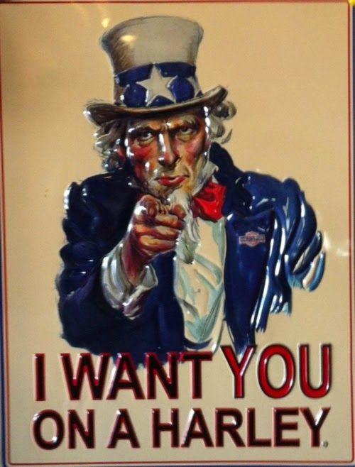 #UncleSam says I want you on a #Harley #sign #HarleyDavidson #LetsGetWordy  http://goo.gl/2H06Il