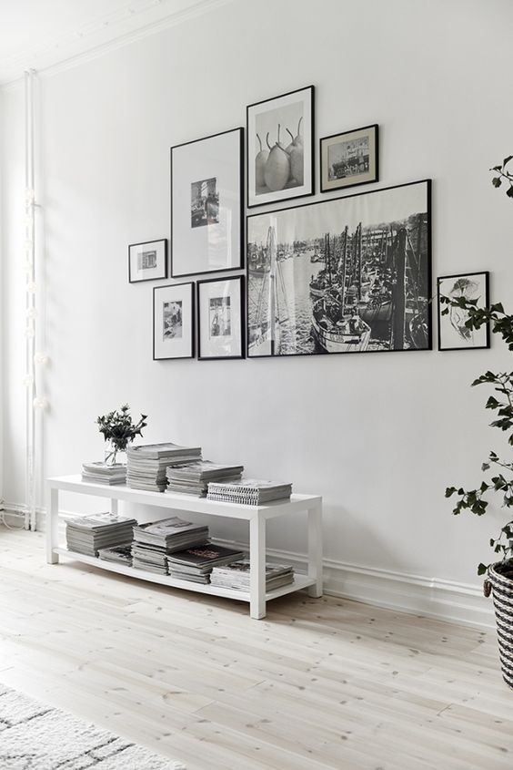 Black and white gallery wall for a white on white interior. Adding some color…