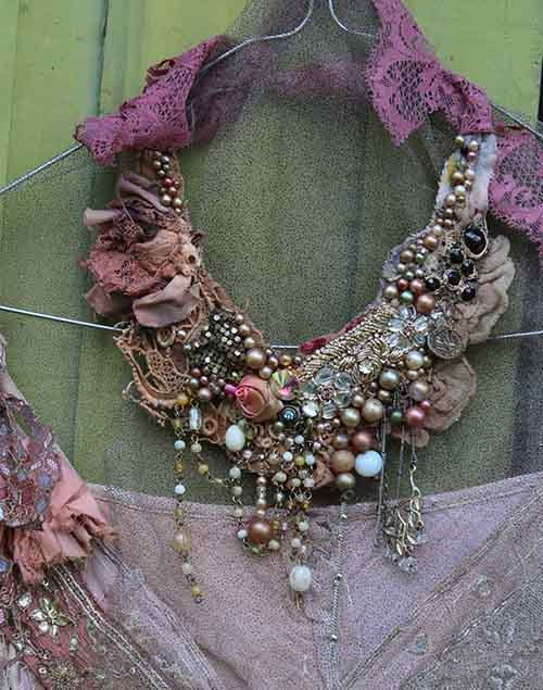 Concerto-- bohemian shabby chic statement necklace from antique and vintage textiles, hand beaded: