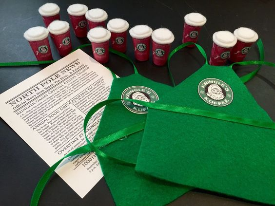 Elf In The shelf -Barista Apron, Coffee Cups And newspaper