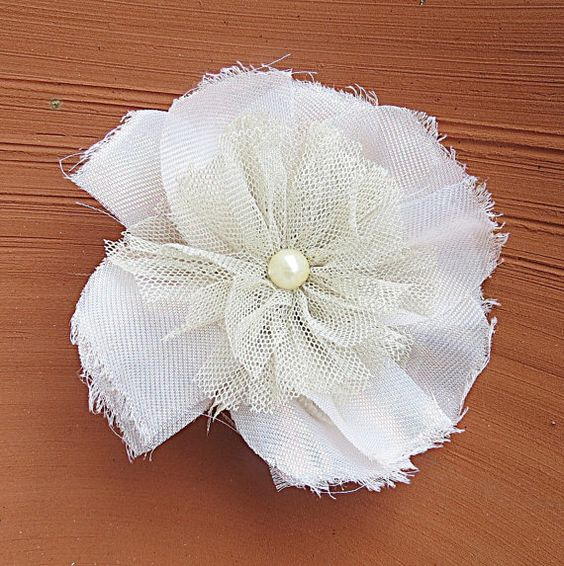 FREE SHIPPING Ivory Net Bridal Hair Flower by Simpleboutique1