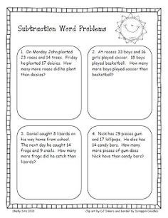 Word problems, Second grade and Second grade freebies on Pinterest