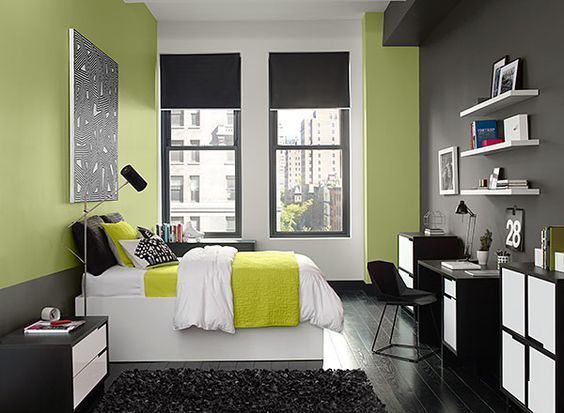 Modern bedroom decor with lime accents