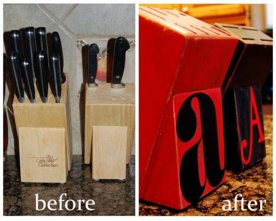 Knife Blocks {From Ugly to Cuteness}