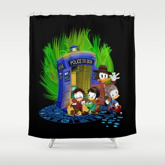 The Doctor Duck 4th 10th 11th and 12th who Tales SHOWER CURTAIN #showercurtain #shower #bathroom #drawing #digital #colored #pencil #inkpen #popart #comic #cartoon #mickey #mouse #donald #duck #doctorwho #davidtennant #10thdoctor #doctor #tardis #whovian #thedoctor #theducktales