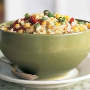 Monterey Jack, Corn, and Roasted Red Pepper Risotto