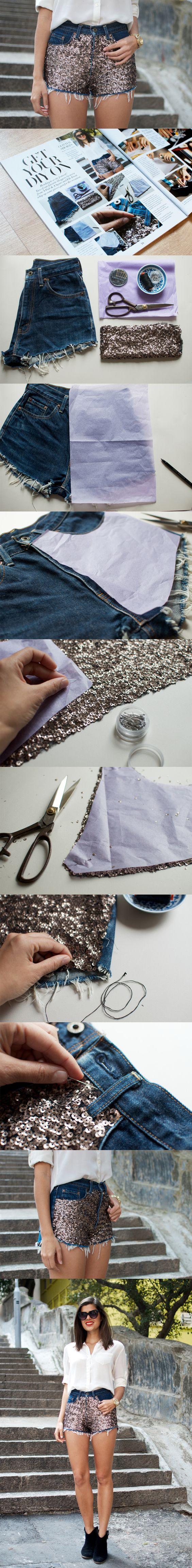 DIY Sequin Embellished Denim Shorts: