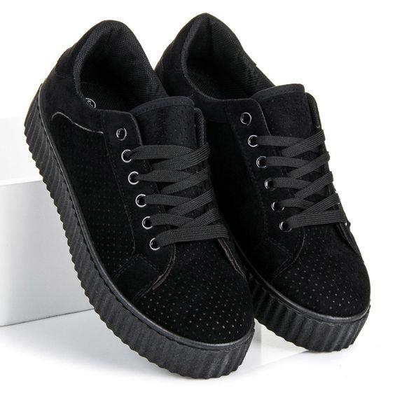 Zamszowe Trampki Na Platformie 2019 Czarny W Sklepie Czasnabuty Pl All Black Sneakers Shoes Sneakers