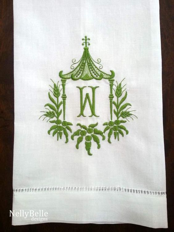 Monogrammed guest towel green pagoda on white cotton