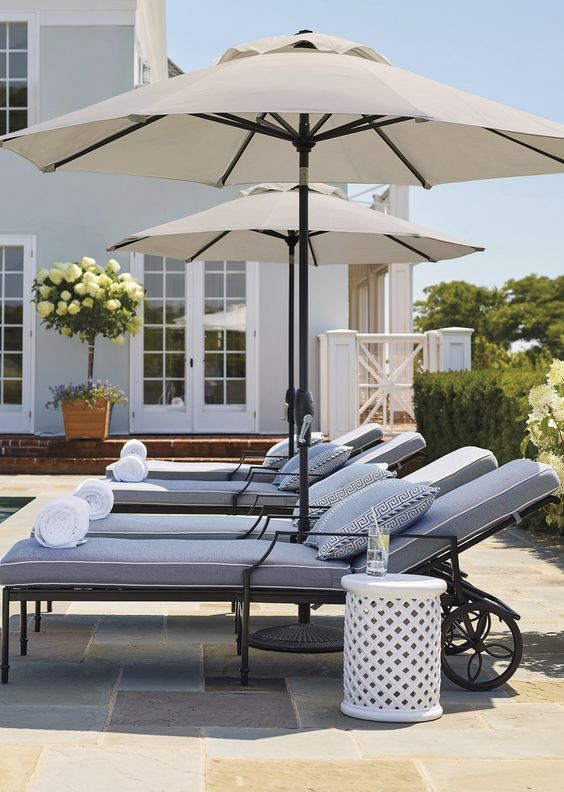 Beach Pretty House Style The Coolest Sun Umbrellas In Your Beach Town Pool Chaise Lounge Pool Lounge Chairs Lounge Chair Outdoor