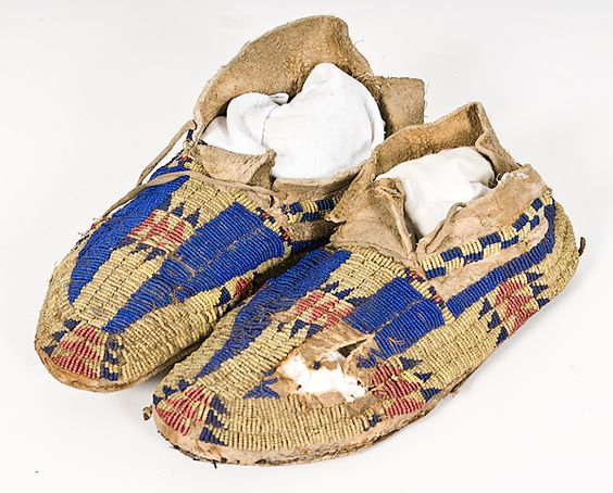 Sioux Beaded Hide Moccasins From the Eiteljorg Museum, 19th century.