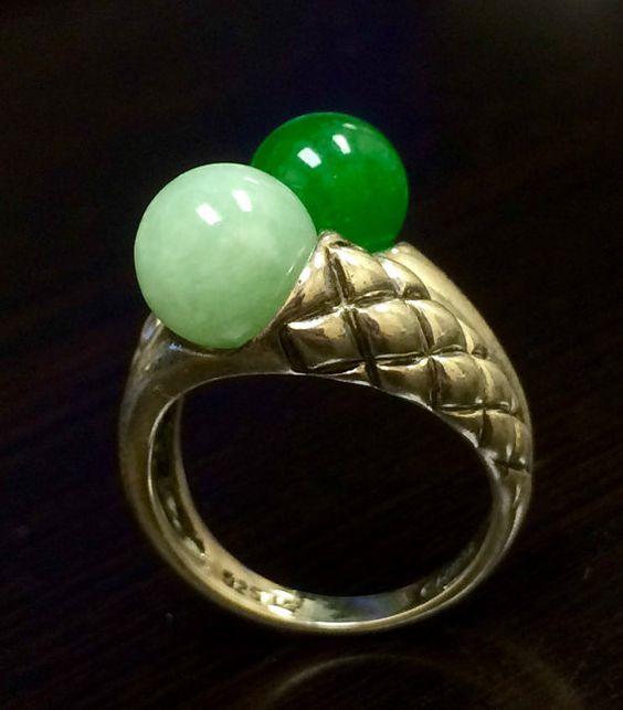 Sterling Silver Jade Ring Victorian Handmade by DeKaraDesigns
