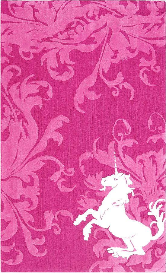 small white unicorn in right corner on pink pattern design ...