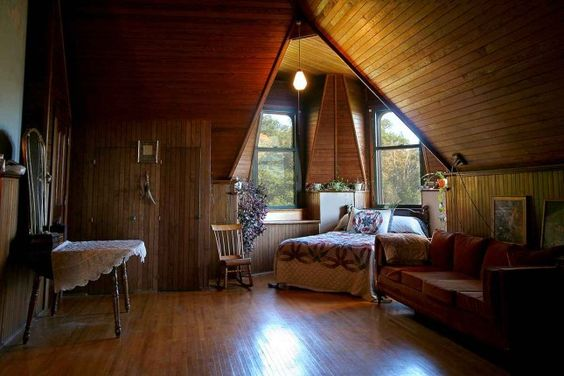 So calm and beautiful....Turn your attic into a romantic bedroom.~I do believe this would be a wonderful place for an office ;)