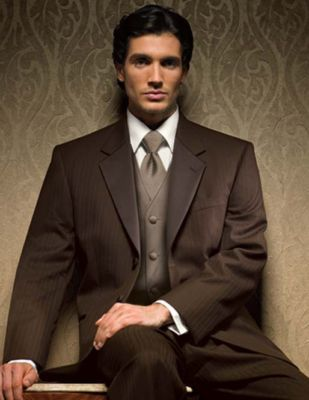 This is a chocolate brown with taupe suit that I think the guys