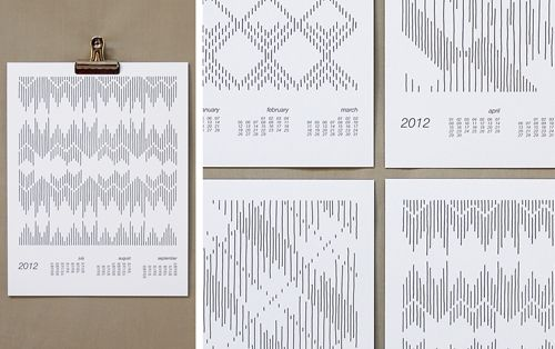 The minimal black and white illustrations featured in Pawling Print Studio's calendar reflect the patterns of traditional textiles that they were inspired by.